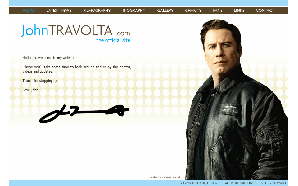 John Travolta Official Site